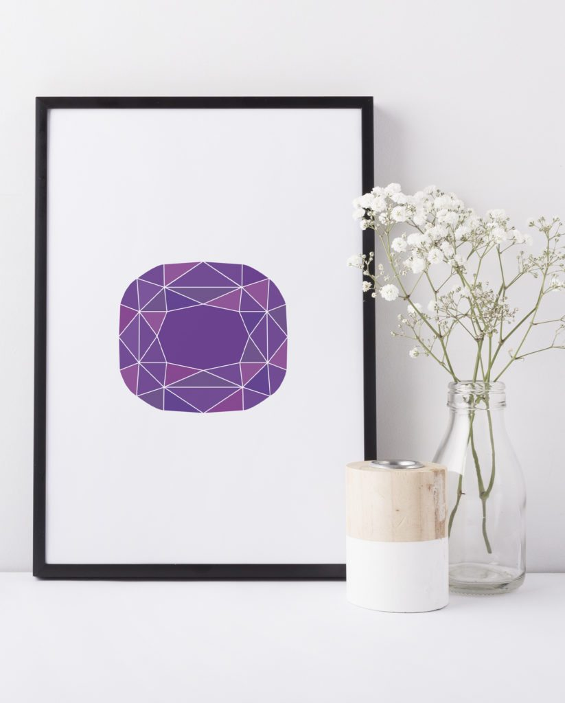 Purple Amethyst Geometric Gemstone Print, by DesignStylePrints on Etsy