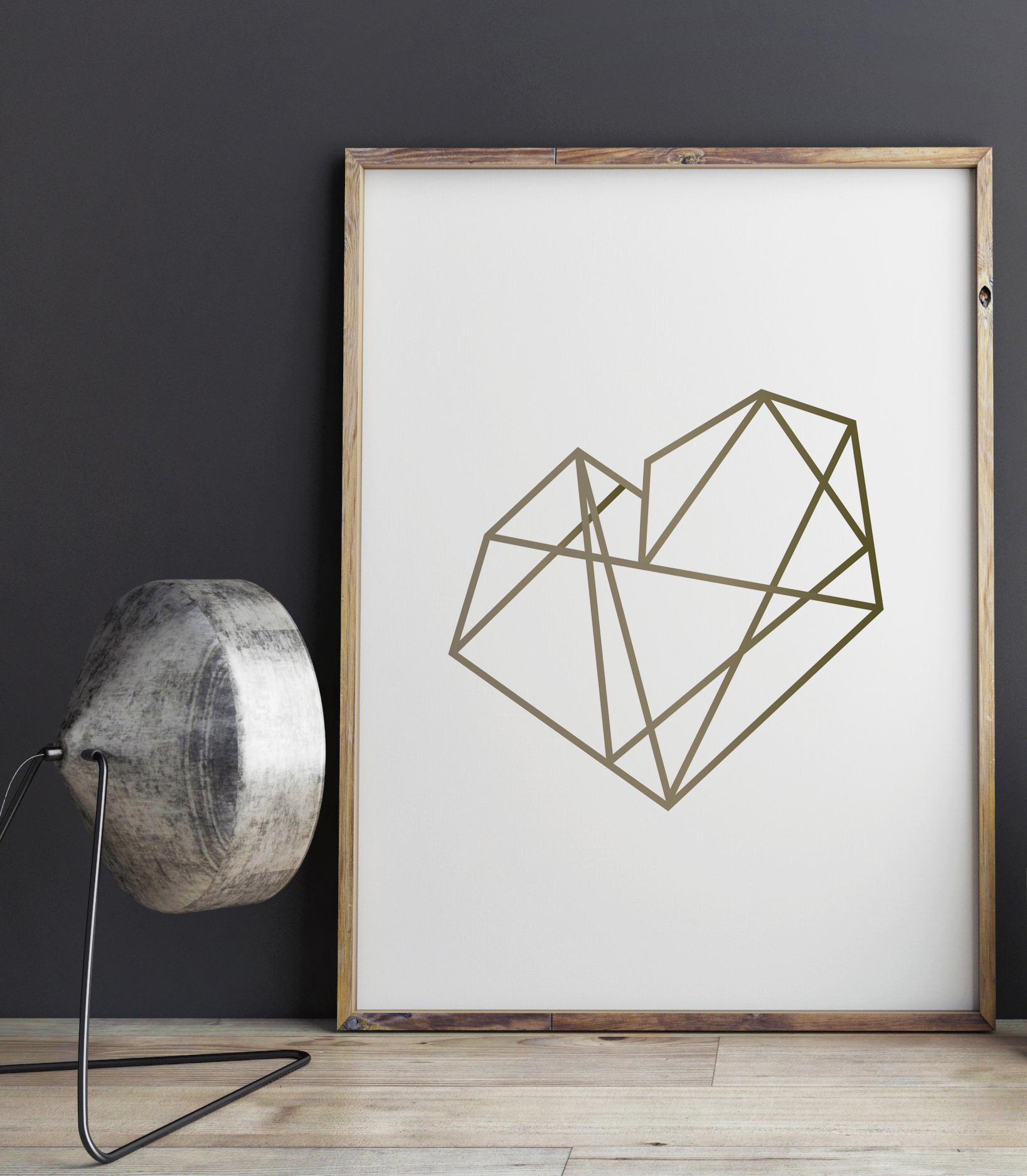 Gold Geometric Heart Print, by DesignStylePrints on Etsy