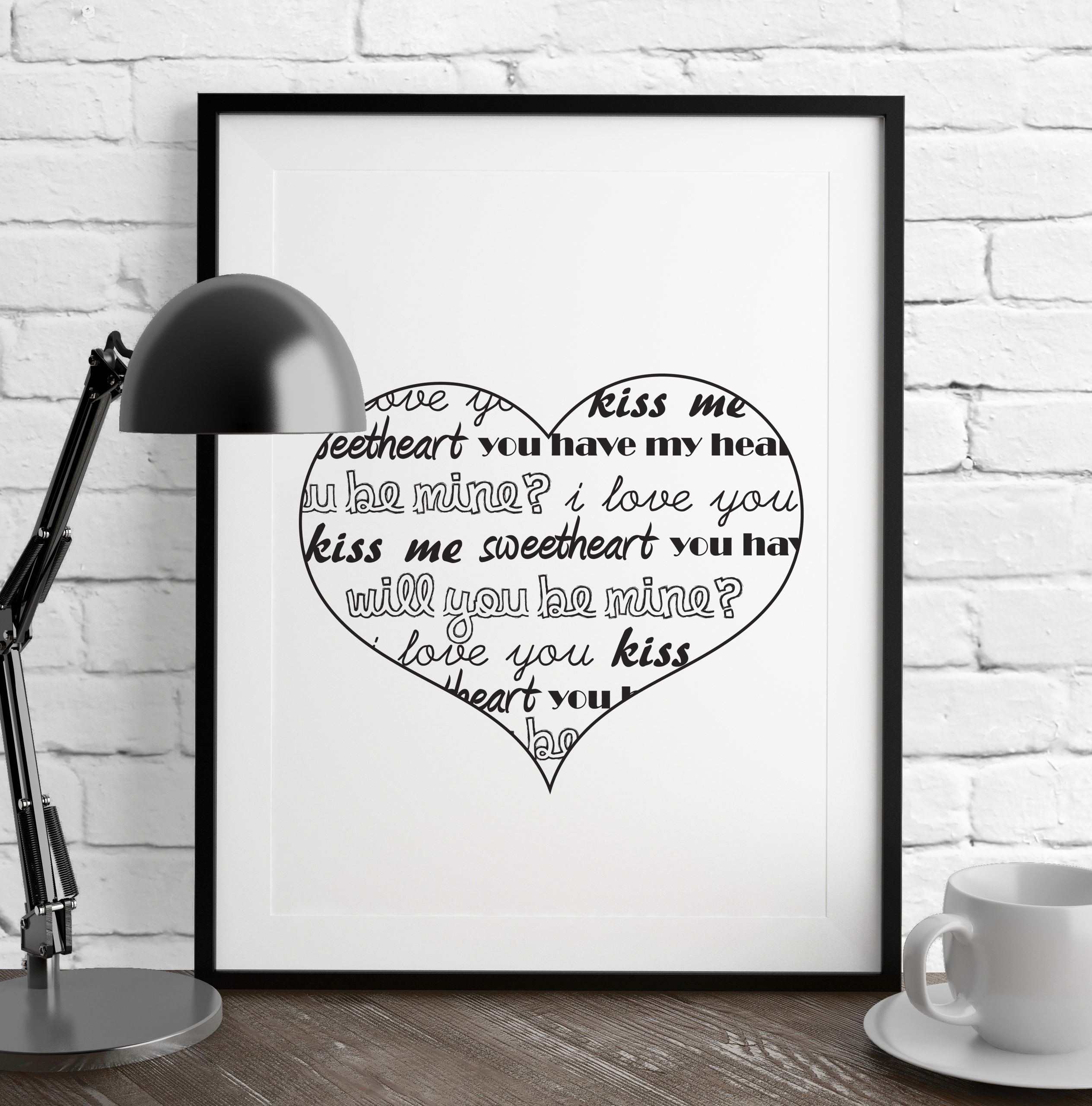 Black and White Conversation Heart Print, by DesignStylePrints on Etsy