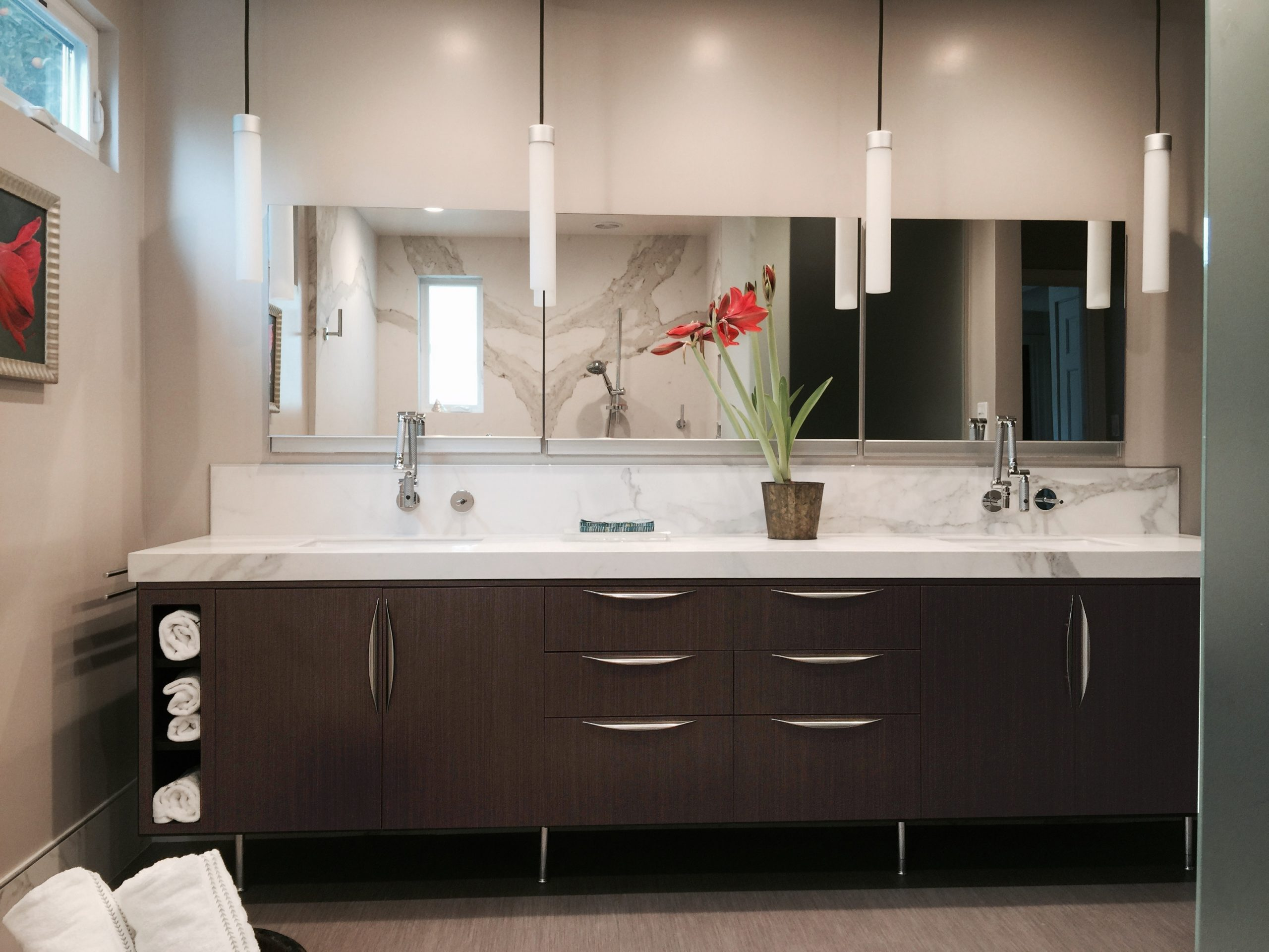 Custom Cabinet by Central Valley Casework, Kohler Faucets and Robern Upper Cabinets from Build.com